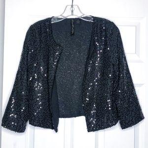 Black sequin crop blazer